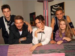 David and Victoria Beckham with a family